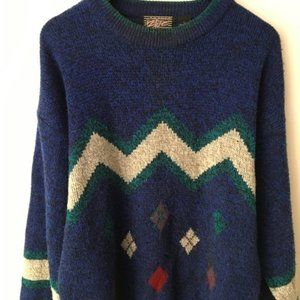 90s Vintage Pullover Sweater Anchor Blue L Large